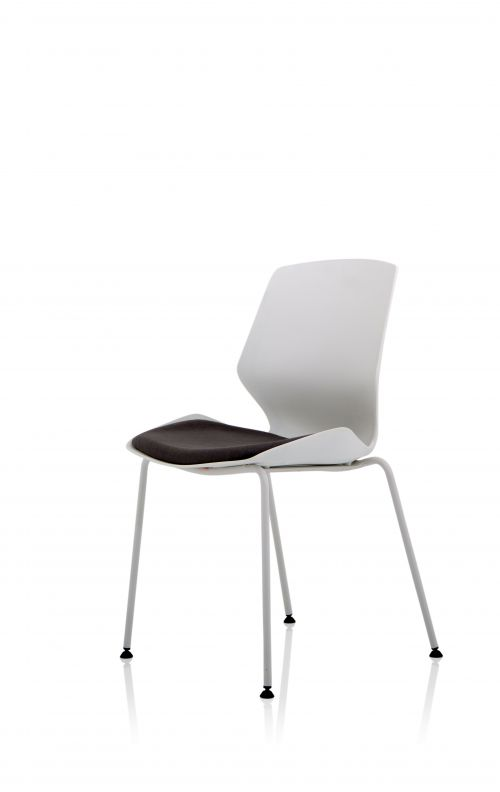 Florence White Frame Dark Grey Fabric Visitor Chair BR000209