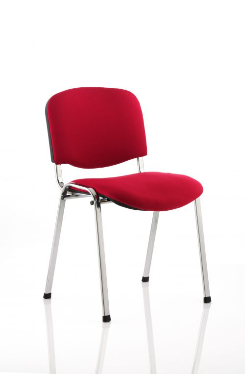 ISO Stacking Chair Wine Fabric Chrome Frame BR000299