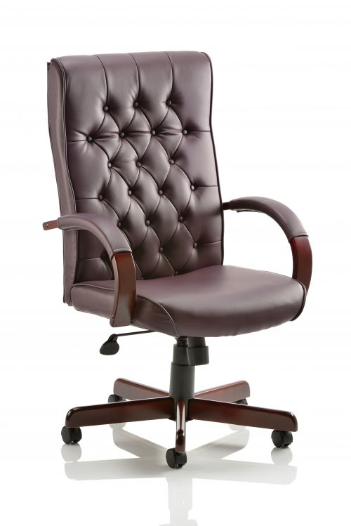 Chesterfield Executive Chair Burgundy Leather