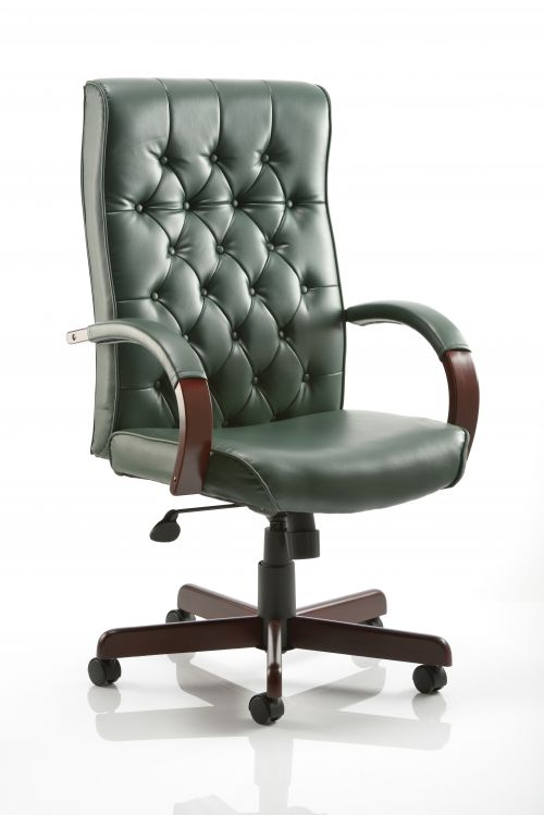 Chesterfield Executive Chair Green Leather