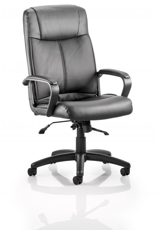 Plaza Executive Soft Bonded Leather Chair Black with Arms EX000052