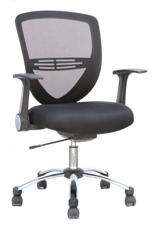Iris Task Operator Chair Black Fabric With Arms