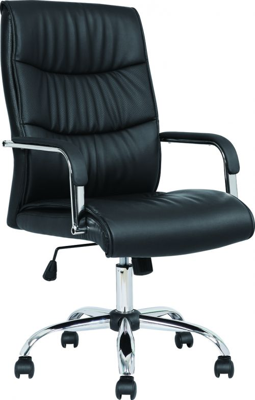 Carter Black Luxury Faux Leather Chair With Arms EX000148