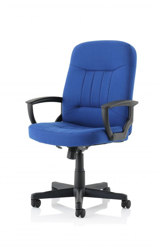 Hague Royal Blue Fabric Executive Chair With Fixed Arms