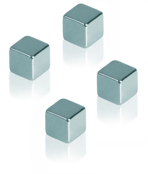 Neodymium Magnet cube 10x10x10mm Adhesive Force 3kg Colour Silver 4 Pieces