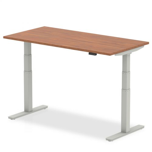Air 1400/800 Walnut Height Adjustable Desk With Silver Legs