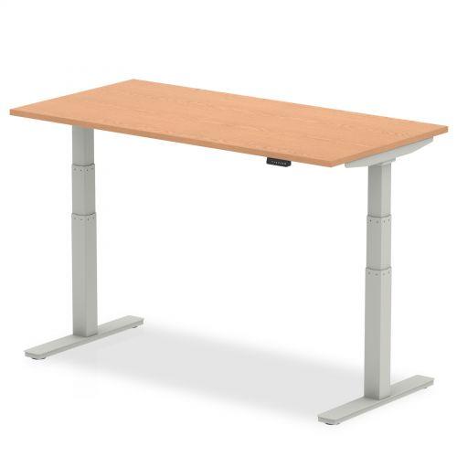 Air 1200/800 Oak Height Adjustable Desk With Silver Legs