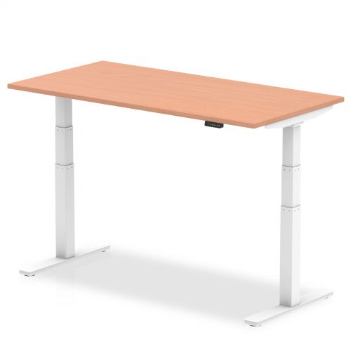 Air 1600/800 Beech Height Adjustable Desk With White Legs