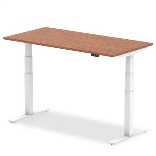 Air 1200/800 Walnut Height Adjustable Desk With White Legs