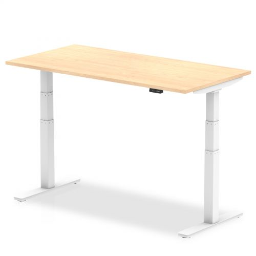 Air 1200/800 Maple Height Adjustable Desk With White Legs