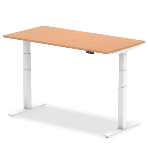 Air 1600/800 Oak Height Adjustable Desk With White Legs