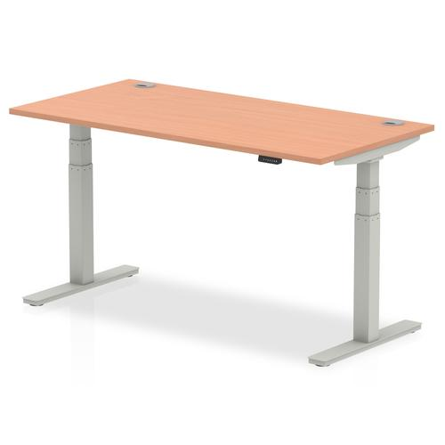 Air 1600/800 Beech Height Adjustable Desk With Cable Ports With Silver Legs