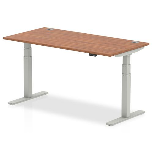 Air 1600/800 Walnut Height Adjustable Desk With Cable Ports With Silver Legs