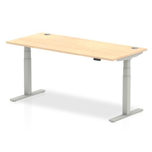 Air 1800/800 Maple Height Adjustable Desk With Cable Ports With Silver Legs
