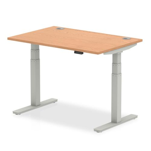 Air 1200/800 Oak Height Adjustable Desk With Cable Ports With Silver Legs