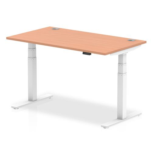 Air 1400/800 Beech Height Adjustable Desk With Cable Ports With White Legs