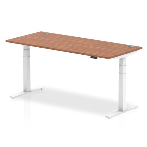 Air 1800/800 Walnut Height Adjustable Desk With Cable Ports With White Legs