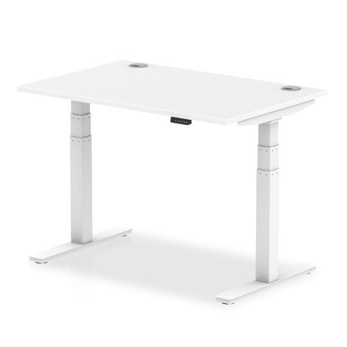 Air 1200/800 White Height Adjustable Desk With Cable Ports With White Legs