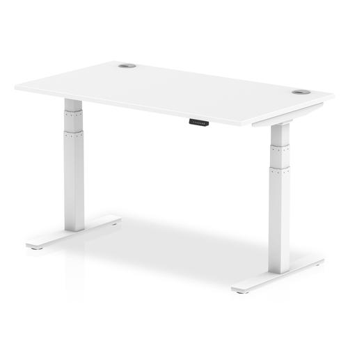 Air 1400/800 White Height Adjustable Desk With Cable Ports With White Legs