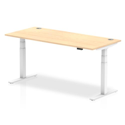 Air 1800/800 Maple Height Adjustable Desk With Cable Ports With White Legs