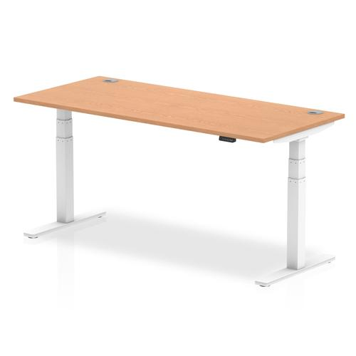 Air 1800/800 Oak Height Adjustable Desk With Cable Ports With White Legs