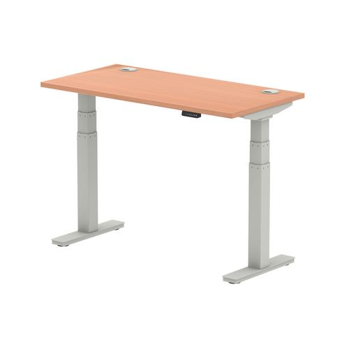 Air 1200/600 Beech Height Adjustable Desk With Cable Ports With Silver Legs