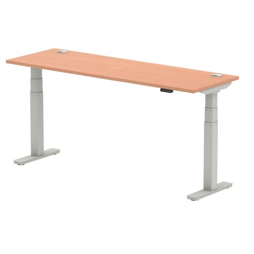 Air 1800/600 Beech Height Adjustable Desk With Cable Ports With Silver Legs