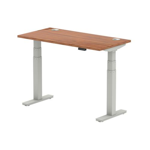 Air 1200/600 Walnut Height Adjustable Desk With Cable Ports With Silver Legs