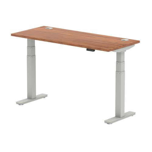 Air 1400/600 Walnut Height Adjustable Desk With Cable Ports With Silver Legs
