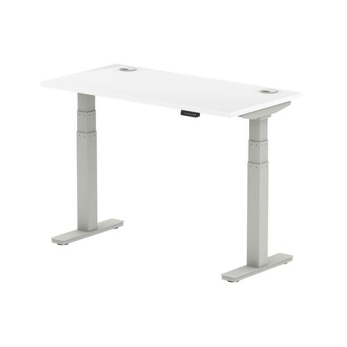 Air 1200/600 White Height Adjustable Desk With Cable Ports With Silver Legs
