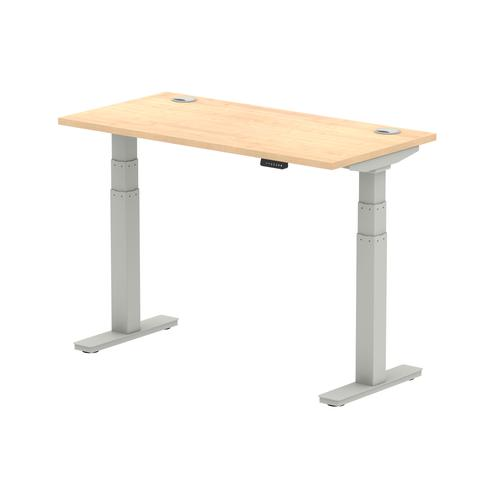 Air 1200/600 Maple Height Adjustable Desk With Cable Ports With Silver Legs