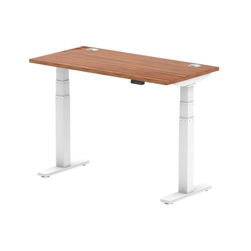 Air 1200 x 600mm Height Adjustable Desk Walnut Top Cable Ports White Leg