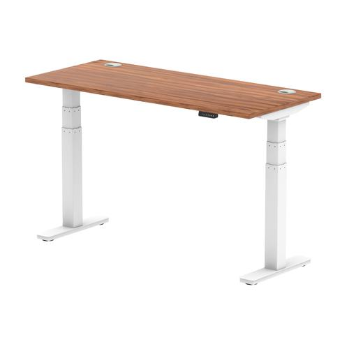 Air 1400/600 Walnut Height Adjustable Desk With Cable Ports With White Legs