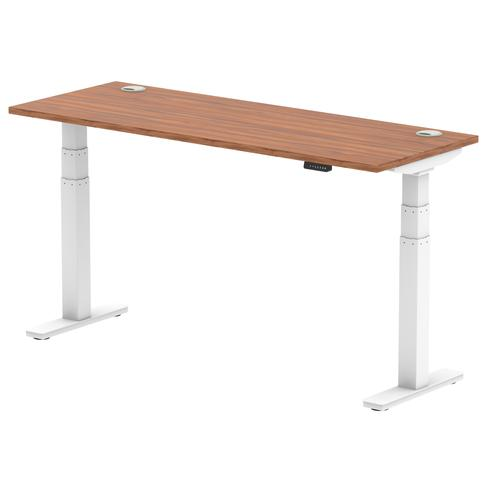 Air 1600/600 Walnut Height Adjustable Desk With Cable Ports With White Legs