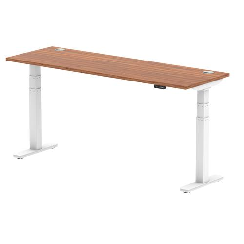 Air 1800/600 Walnut Height Adjustable Desk With Cable Ports With White Legs