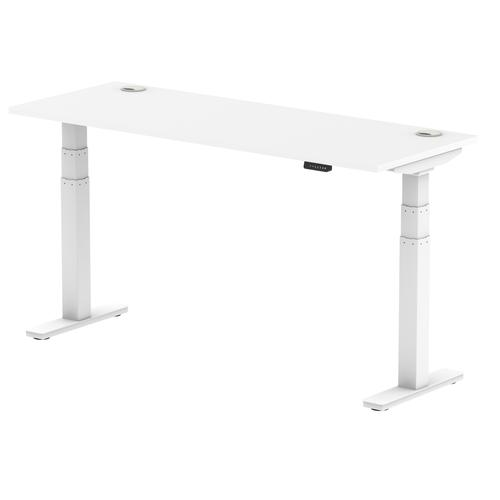 Air 1600/600 White Height Adjustable Desk With Cable Ports With White Legs