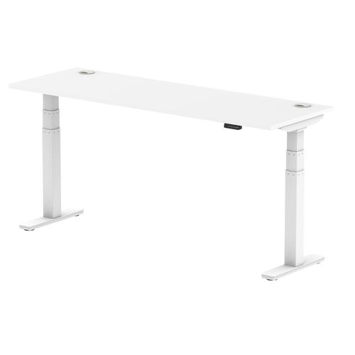 Air 1800/600 White Height Adjustable Desk With Cable Ports With White Legs
