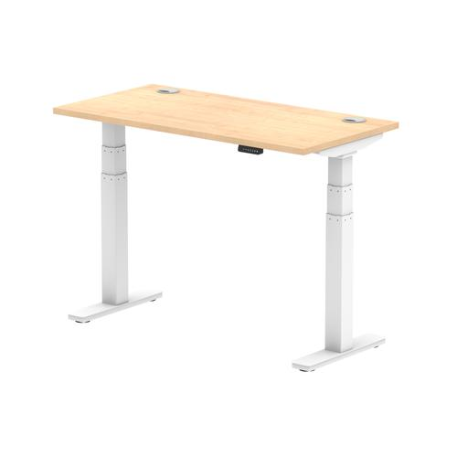 Air 1200/600 Maple Height Adjustable Desk With Cable Ports With White Legs