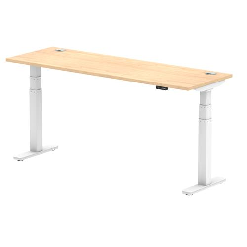 Air 1800/600 Maple Height Adjustable Desk With Cable Ports With White Legs