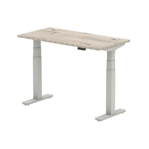 Air 1200/600 Grey Oak Height Adjustable Desk With Cable Ports With Silver Legs
