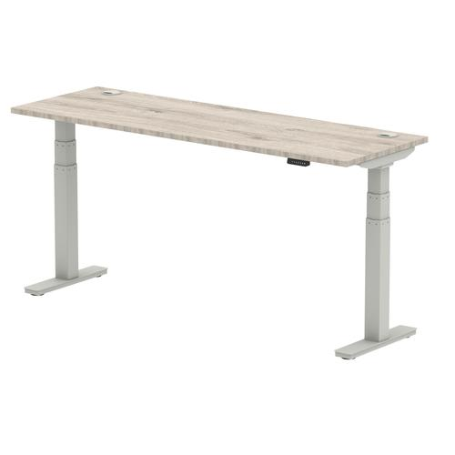 Air 1800/600 Grey Oak Height Adjustable Desk With Cable Ports With Silver Legs