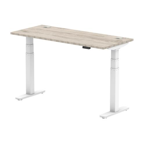 Air 1400/600 Grey Oak Height Adjustable Desk With Cable Ports With White Legs