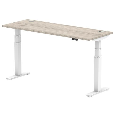 Air 1600/600 Grey Oak Height Adjustable Desk With Cable Ports With White Legs