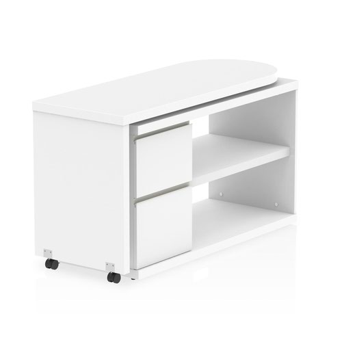 Fleur L Desk with Pedestal White