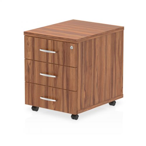 Impulse Mobile Pedestal 3 Drawer Walnut
