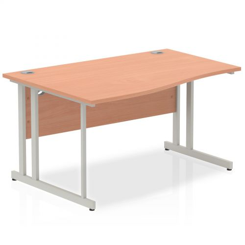 Impulse Cantilever 1400 Left Hand Wave Desk Beech