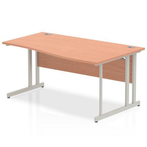Impulse Cantilever 1600 Right Hand Wave Desk Beech