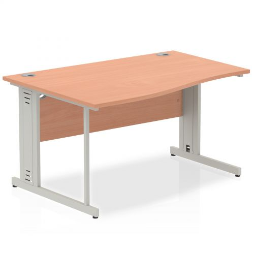 Impulse Cable Managed 1400 Left Hand Wave Desk Beech