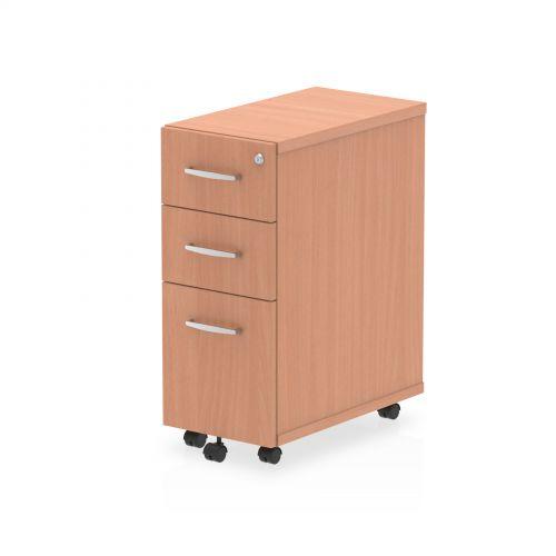 Impulse Narrow Under Desk Pedestal 3 Drawer Beech
