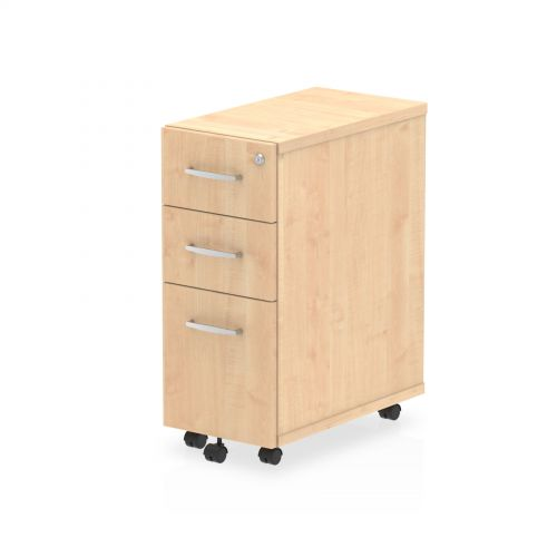 Impulse Narrow Under Desk Pedestal 3 Drawer Maple